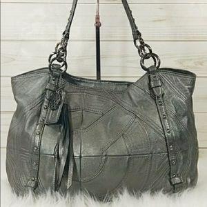 Coach gunmetal patchwork shoulder bag